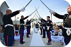An entrance suiting a Marine and his bride