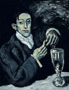 The Absinthe Drinker (Portrait of Angel Fernandez de Soto) - Pablo Picasso 1903 Kunst Picasso, Art Picasso, Picasso Blue, Picasso Paintings, Pierre Auguste Renoir, Georges Braque, Spanish Painters, Spanish Artists, Paul Gauguin