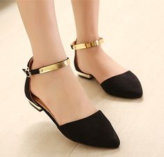 2016 pies en punta de terciopelo mujeres de los planos del tobillo correa boda del partido del club negro nude tacón plano hebilla brillo zapatos de gamuza