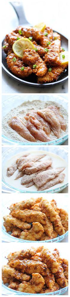 Asian Lemon Chicken Tenders - A wonderful asian twist to your favorite chicken tenders, tossed in the most heavenly sweet, lemon glaze!