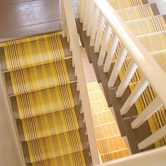 Dash and Albert Rugs - Sunflower Ticking as Stair Runner - Woven Cotton House Stairs, Carpet Stairs, Wall Carpet, Hallway Carpet, Basement Stairs, Basement Ideas, Dash And Albert Runner, Yellow Stairs, Interior Design Your Home