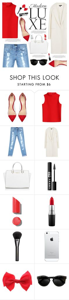 """""""Modern Luxe"""" by katarinamm ❤ liked on Polyvore featuring Gianvito Rossi, Courrèges, Bebe, DKNY, Michael Kors, LORAC, Chanel, MAC Cosmetics, Gucci and modern"""
