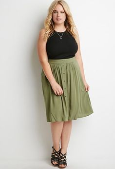 Plus Size Buttoned A-Line Skirt   Forever 21 PLUS - 2000158005