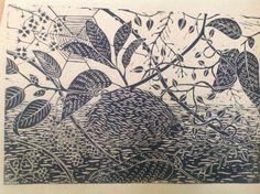 Linocut hedgehog