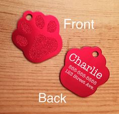 Laser Engraved Large Paw Print Dog Tag by BlackDogEngraving on Etsy