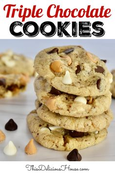 Triple Chip Cookies made chocolate, white chocolate, and butterscotch chips. It's the perfect chocolate chip cookie recipe! #triplechipcookie #chocolatechipcookie Cake Recipes For Kids, Easy Cookie Recipes, Easy Desserts, Baking Recipes, Dessert Recipes, Perfect Chocolate Chip Cookie Recipe, Triple Chocolate Chip Cookies, Butterscotch Chips, Cool Birthday Cakes