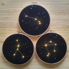 Made to order Aries Zodiac Constellation Embroidery Hoop Art with LEDs light Outer Space Astrology Wall Hanging Personalized Gift de la lumière solaire Embroidery Works, Hand Embroidery Designs, Diy Embroidery, Embroidery Stitches, Embroidery Patterns, Constellation Craft, Star Constellations, Ideias Diy, Hand Embroidery
