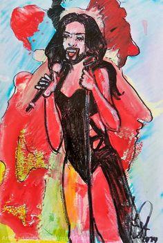 Artwork >> Jürgen Grafe >> CONCHITA SAUSAGE  #artwork, #masterpiece, #oil, #painting