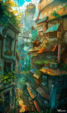 Art director Zhichao Cai (aka Trylea) uses no tricks or photocomping in his amazing, ridiculously vertical compositions, featuring incredibly pushes perspectives, impossible architecture and a plethora of detail to scour for in his incredible digital Fantasy City, Fantasy Kunst, Fantasy World, Anime Fantasy, Art Environnemental, Environment Concept, Environment Design, Environmental Art, Anime Scenery