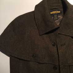 FINAL PRICE DROP! r u g b y / c a p e Rugby x Ralph Lauren Tweed Capelet | Beautiful Brown Wool Tweed | Cropped Jacket | Cape Detail at Shoulders | Perfect Condition! | Great Piece for Fall! Ralph Lauren Jackets & Coats Capes