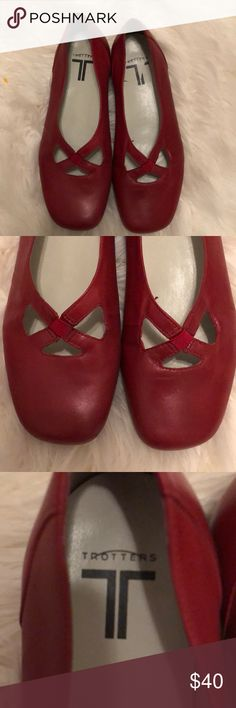 Sz 6.5 ww Trotters red leather flats- so cute ! ❤️ These are in great condition and so stylish! They don't look that wide to me. I don't know why they have ww?  Anyway, unless you have a narrow or thin foot they may work! I have a thinner but looks wide foot and they fit me! Sz 7-7.5 is what I wear. So maybe this will help you judge. Trotters Shoes Flats & Loafers
