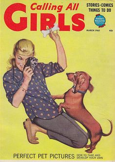 Vintage Calling All Girls magazine - Dachshund and girl with camera - March 1961