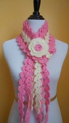fuzzy pink and cream scarf with flower