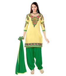 Buy yellow and green embroidered cotton semi stitched salwar with dupatta anarkali-salwar-kameez online