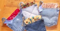Potholders made from recycled jean pockets- make some with bandanas sticking out the end.