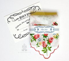 Reply Cards For Custom Printed Handkerchiefs Festival Wedding Textiles Handkerchief Invitation Design