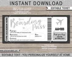 DIY Printable Editable Boarding Pass Surprise Fake Airline | Etsy Boarding Pass Template, Ticket Template, Party Tickets, 10 Envelope, Happy Retirement, Label Paper, Airline Tickets, Travel Gifts, Text You