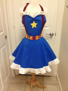 Rainbow Brite adult full apron by AJsCafe on Etsy