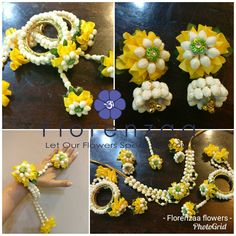 Fresh flower jewellery @florenzaaflowers 9818379627 Flower Garland Wedding, Flower Garlands, Flower Decorations, Flower Jewellery For Mehndi, Flower Jewelry, Flower Necklace, Flower Ornaments, Jewelry Patterns, Making Ideas