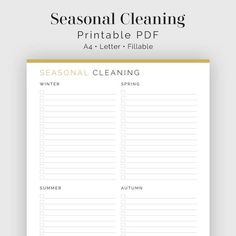 Seasonal Cleaning Checklist - Fillable - Printable PDF - Household Binder f9695b7d4