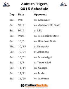 Printable Auburn Tigers Football Schedule 2015