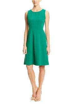 JONES NEW YORK Sleeveless Stretch Crepe Dress with Topstitch Detail
