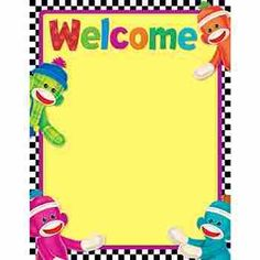 """Sock Monkey Welcome Learning Chart, Back features reproducible activities, subject information, and helpful tips. 17"""" x 22"""" classroom size. Sturdy and durable. Coordinates with Sock Monkeys Collection."""