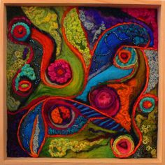 Felt art - Vibrant Wool Paintings by Betty Usdan Zwickler – Felt art Needle Felted, Wet Felting, Felted Wool, Felted Scarf, Felt Fabric, Fabric Art, Felt Wall Hanging, Felt Pillow, Felt Pictures