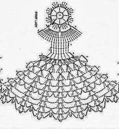 Risultati immagini per crinoline lady a crochet Crochet Diy, Crochet Vintage, Crochet Dollies, Crochet Angels, Thread Crochet, Crochet Flowers, Crochet Diagram, Crochet Chart, Crochet Motif