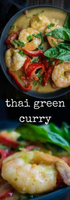 Creamy coconut Thai green curry shrimp and grits is made with juicy succulent shrimp and a spicy Thai green curry and vegetables, served over creamy grits. easy thai curry | shrimp and grits | coconut curry shrimp and grits | creamy coconut curry | green curry shrimp | creamy thai green curry | 20 minute curry | best brunch recipes | spicy curry shrimp | spicy green curry shrimp and grits | easy shrimp curry | easy shrimp and grits