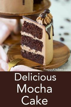 This mocha cake from Preppy Kitchen is moist, fluffy and packed with chocolate and coffee flavor. Between each layer you'll find a mocha buttercream, chocolate ganache and chopped chocolate covered espresso beans. Chocolate Cake With Coffee, Chocolate Espresso, Chocolate Covered, Chocolate Torte Cake, Cupcake Recipes, Cupcake Cakes, Dessert Recipes, Gourmet Cupcakes, Espresso Cake Recipe
