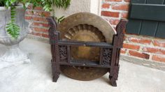 Antique English Carved Wood Folding Brass Tray Coffee Tea Table British Colonial | eBay