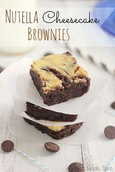 Nutella Cheesecake Swirl Brownies @eatdrinklove
