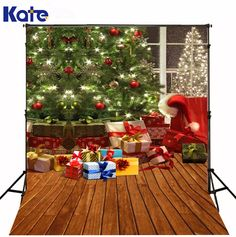 Online Shop Kate Christmas Photography Backgrounds Red Gift Box Green Christmas Tree Backdrops Wood Floor for Children Photo Studio Christmas Photography Backdrops, Christmas Backdrops, Photography Gifts, Green Christmas, Kids Christmas, Christmas Topper, Christmas Photo Background, Background For Photography, Photography Backgrounds
