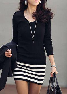 OL Style Round Neck Long Sleeve Sheath Dress