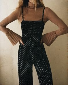 Outfit today storets turtleneck and Christy dawn polka dot jumpsuit