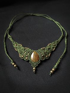Macrame necklace and tiara with tiger eye. India, festival, goa, shaman, pixie, fairy, woodlands