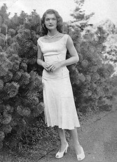 Jacqueline Lee Bouvier (Future Mrs. John Kennedy) wearing a creation by Worth, and photographed for American Vogue in March 1947.