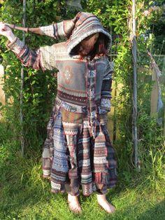 Upcycled Sweatercoat in Recycled Fairisle Wool Knitwear Pixie hood & full skirt  Large Size OOAK Handmade in UK.