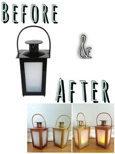 """DIY Decor- Purchased LED lanterns for $1 at Dollar Tree. Easily took them apart and then went to town with spray paint (I already had spray paint at home) One was spray painted with Rust Oleum's metallic gold"""" and the other with Rust Oleum's """"metallic copper"""". That's it! Super cute accents to either party or even as home decor Dollar Tree Store, Dollar Tree Crafts, Dollar Stores, Cool Diy, Dollar Tree Wedding, Diy Garden, Valentines Day Decorations, Spring Crafts, Candlesticks"""
