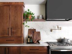 Magnolia Kitchen, Magnolia Homes, Waco Magnolia, Walnut Cabinets, Wood Cabinets, Home Renovation, Louvered Shutters, Fixer Upper Kitchen, Walnut Kitchen