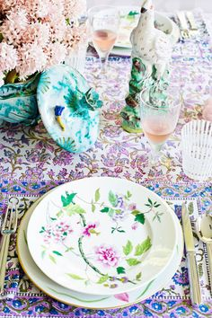 Peonies, print and pattern on Tory Burch's chic tabletop. Repin and tag your favorite party photos #bazaarentertaining so we can see what is inspiring you.
