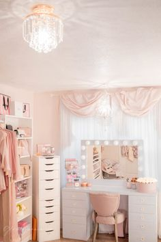 Pink Walk in Closet & Beauty Room Reveal Room Ideas Bedroom, Bedroom Decor, Vanity Room, Makeup Room Decor, Cute Room Decor, Glam Room, Aesthetic Room Decor, Pink Room, Beauty Room