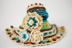 Beige Green Blue Brown Crochet Bracelet. by KaterinaDimitrova