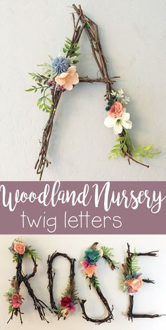 Ich liebe diese Idee, aus Zweigen und Blumen Buchstaben oder sogar den ganzen Na… I love this idea of ​​turning branches and flowers into letters or even the whole name … # letters # whole Rustic Wall Letters, Letter Wall, Hanging Letters, Letter Monogram, Deco Floral, Arte Floral, Garden Nursery, Nursery Room, Nursery Ideas