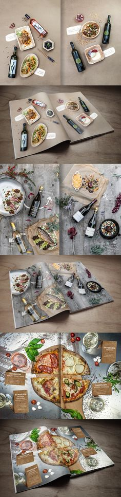 These picture look stunning on book pages. FOOD&WINE on Behance lobby # bistro Web Design, Food Design, Layout Design, Food Magazine Layout, Magazine Design, Brochure Food, Brochure Design, Speisenkarten Designs, Menue Design