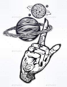 Flash Style Inked Human Hand with Saturn Planet.
