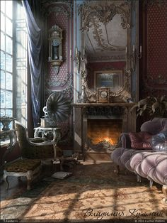 art steampunk victorian victorian home victorian house victorian interior Victorian Interiors, Victorian Decor, Victorian Homes, Victorian Parlor, Victorian Fireplace, Modern Victorian, Victorian Design, Victorian Couch, Victorian Pictures