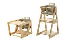 Updated version of popular beech Scandinavian mid century high chair. Convertible High Chair - Green by Hindevadgaard Firm of Architects, Denmark.