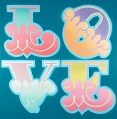 Ben Eine, Circus Love on Turquoise, 2012 Street Artists, Spray Painting, Love Heart, Photo Art, Graffiti, Hearts, Typography, Turquoise, Type